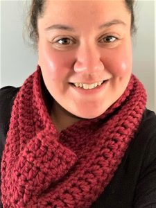 "Trista from Crochets By Trista modeling the ""Garnet Cowl"""